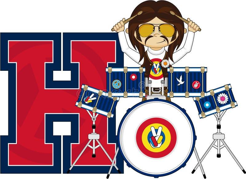 H är för hippie vektor illustrationer