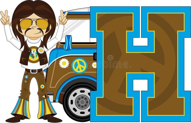 H är för hippie stock illustrationer
