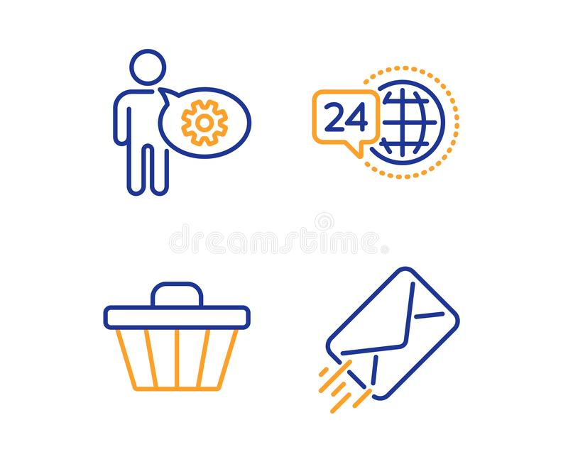 24h εικονίδια κάρρων υπηρεσιών, Cogwheel και καταστημάτων καθορισμένα τρισδιάστατο ανασκόπησης ε λευκό σημαδιών ταχυδρομείου πρότ απεικόνιση αποθεμάτων