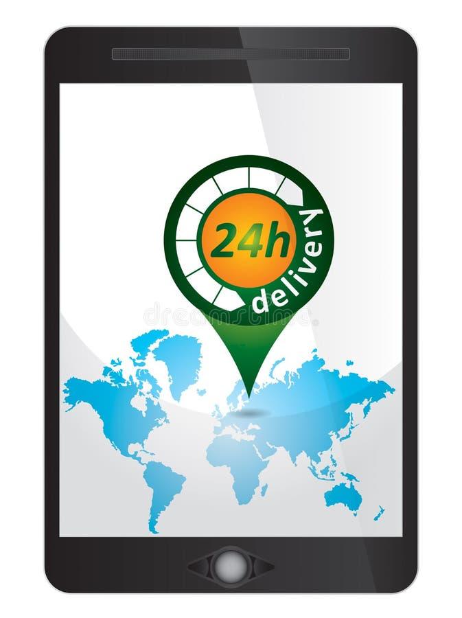 24h ετικέττα παράδοσης, σημάδι στην ταμπλέτα ελεύθερη απεικόνιση δικαιώματος