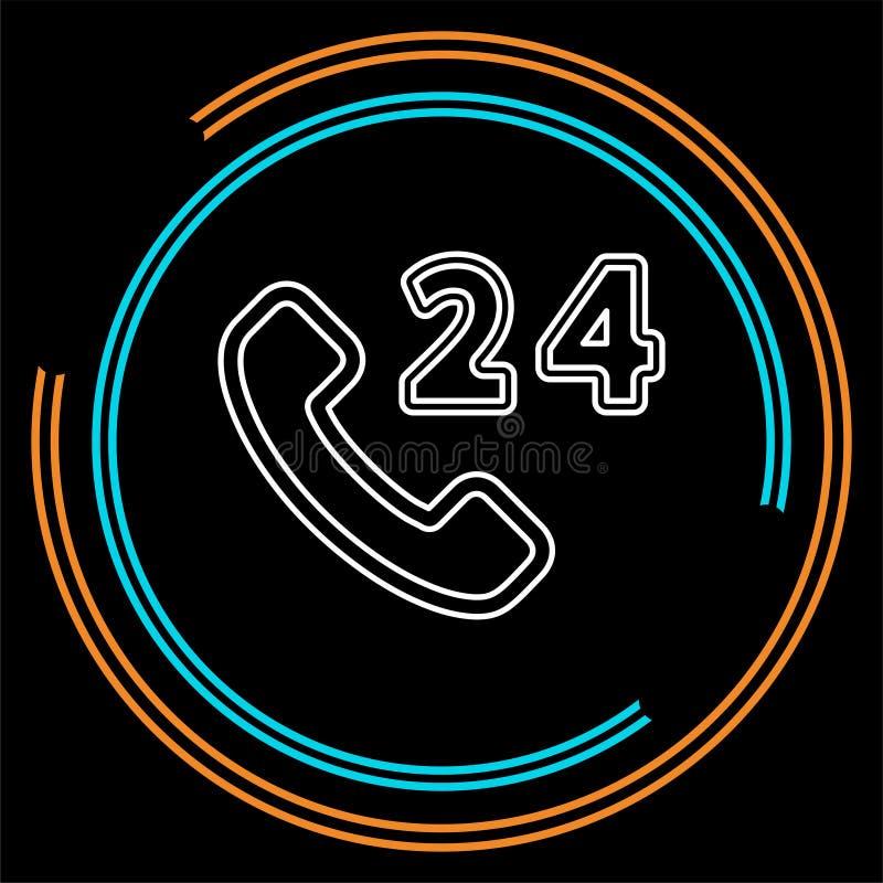 24h центр телефонного обслуживания - значок помощи, служба технической поддержки бесплатная иллюстрация