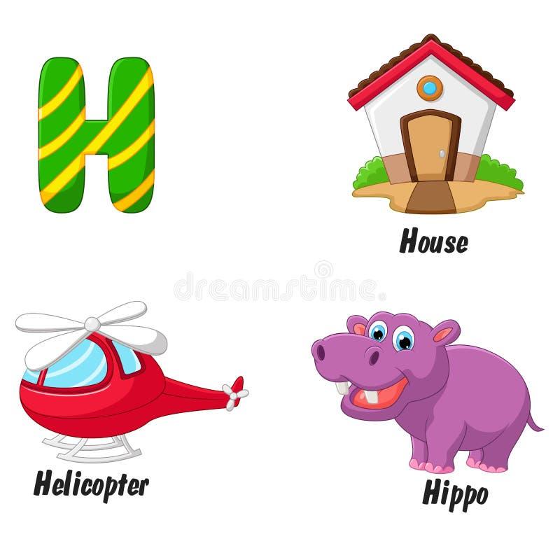 H alphabet cartoon stock illustration
