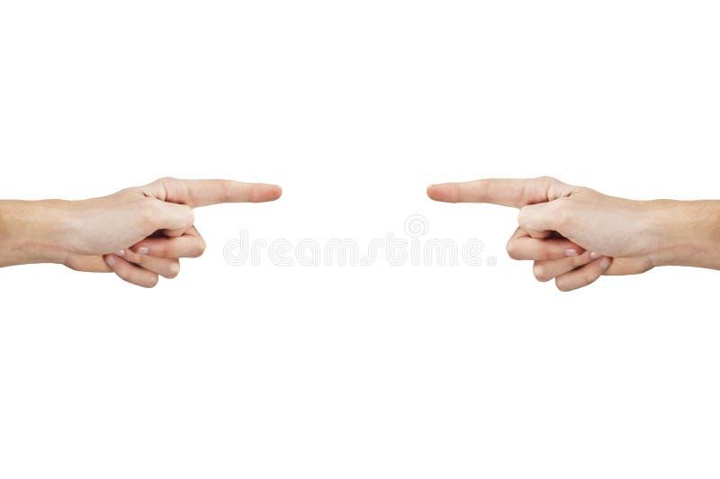 händer som indikerar två arkivfoto