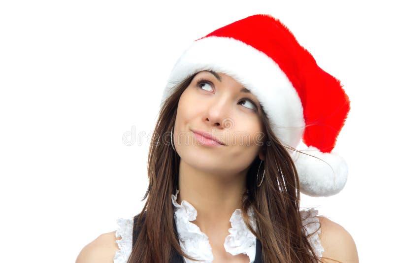 härlig santa för julclaus hatt kvinna royaltyfri bild