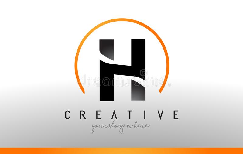 H-bokstav Logo Design med svart orange färg Kall modern symbol T royaltyfri illustrationer