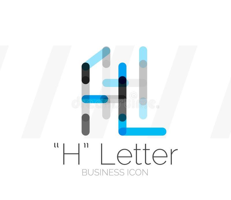 H-bokstavslogo, minsta linje design vektor illustrationer