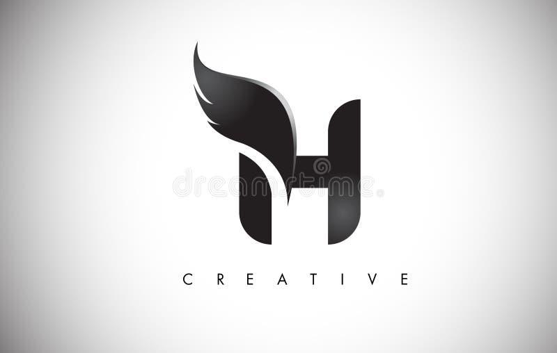 H-bokstavsvingar Logo Design med den svarta fågelflugan Wing Icon stock illustrationer