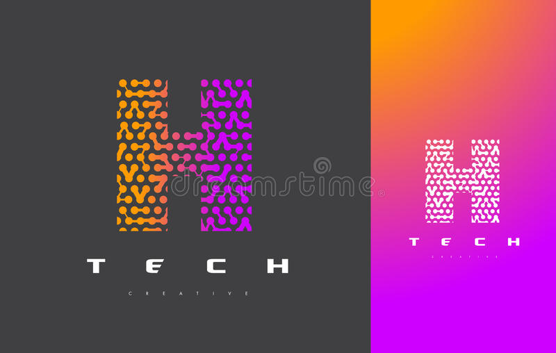 H-Buchstabe Logo Technology Verbundener Dots Letter Design Vector vektor abbildung