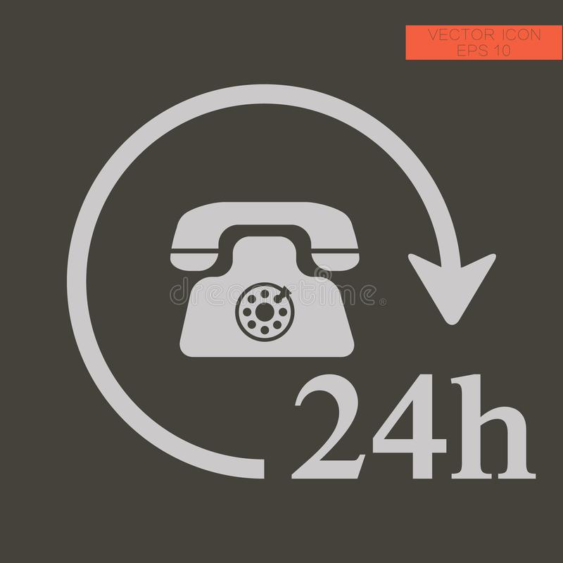 24h Call center - help icon, technical support. Icon, computer service support, tech support concept stock image