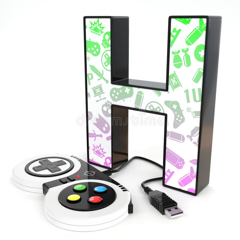 `H` 3d letter with video game controller. Green and purple video game icons painted over `H` 3d letter with video game controller vector illustration