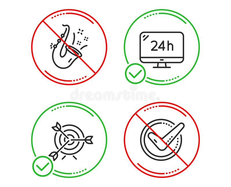 24h de dienst, Doel en Jazz geplaatste pictogrammen Bevestigd teken Vraagsteun, het Richten, Saxofoon Goedgekeurd bericht Vector vector illustratie