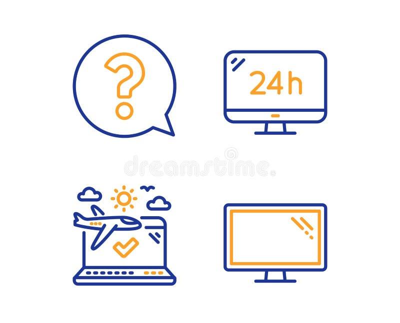 24h de dienst, Vraagteken en Vliegtuig geplaatste reispictogrammen Monitorteken Vraagsteun, Hulpsteun, Controle binnen Vector stock illustratie