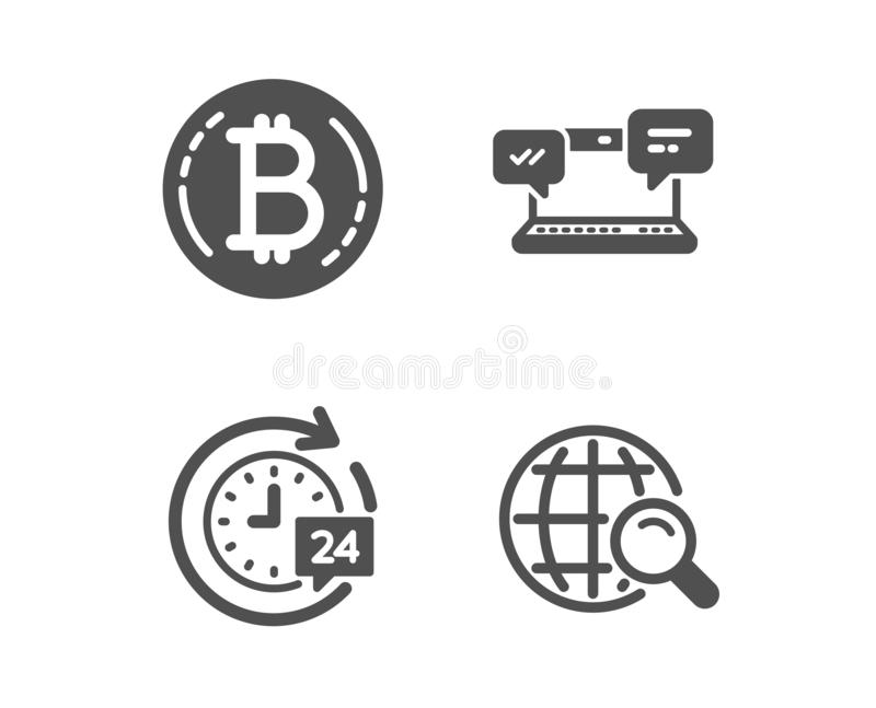 24h delivery, Internet chat and Bitcoin icons. Internet search sign. Vector. Set of 24h delivery, Internet chat and Bitcoin icons. Internet search sign stock illustration