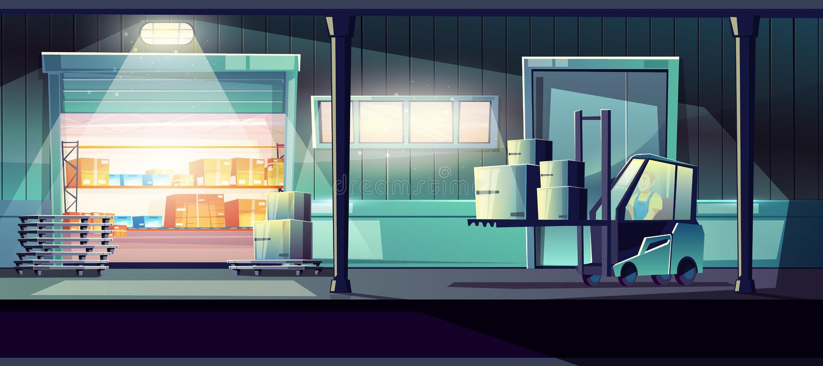 24-h delivery service warehouse vector concept stock illustration
