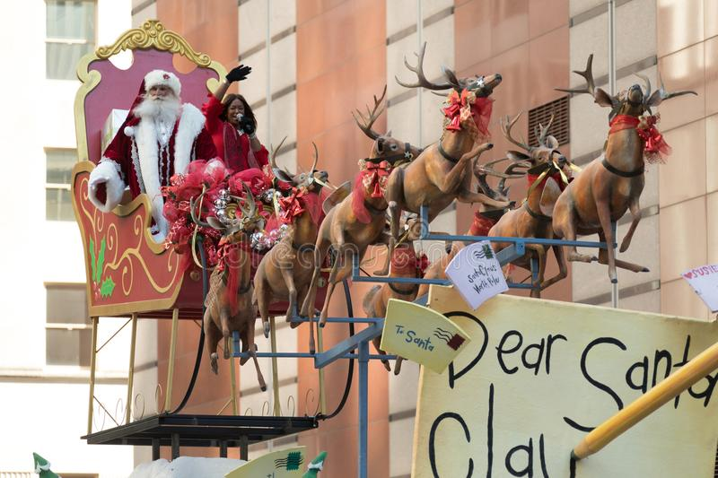 H-E-B Thanksgiving Day Parade. Houston, Texas, USA - November 23, 2017, The H-E-B Thanksgiving Day Parade in Houston began in 1949, when Santa arrived at Union stock image