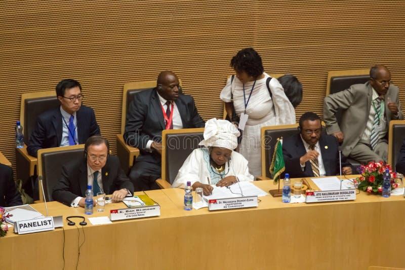 H.E. H.E. Ato H博士恩科萨扎纳Dlamini-Zuma、H.E. Ban Ki-moom和 免版税库存图片