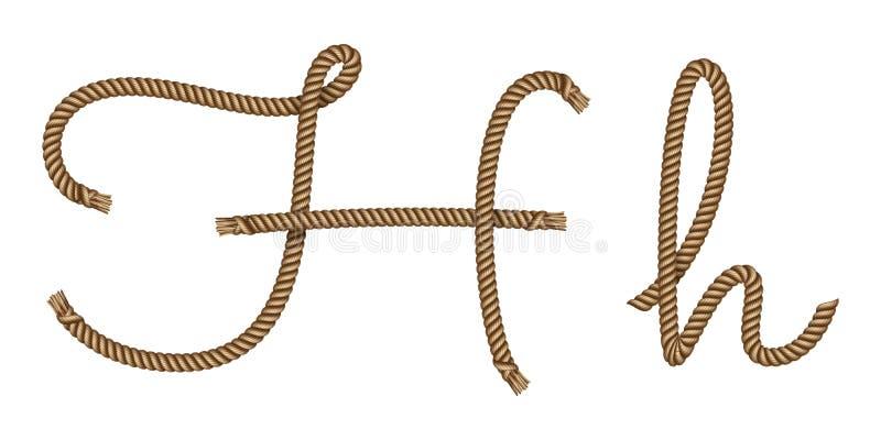 H för bokstav för rephand utdraget royaltyfri illustrationer