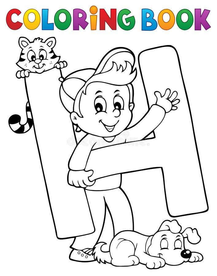 H för pojke och för husdjur för färgläggningbok genom brev vektor illustrationer