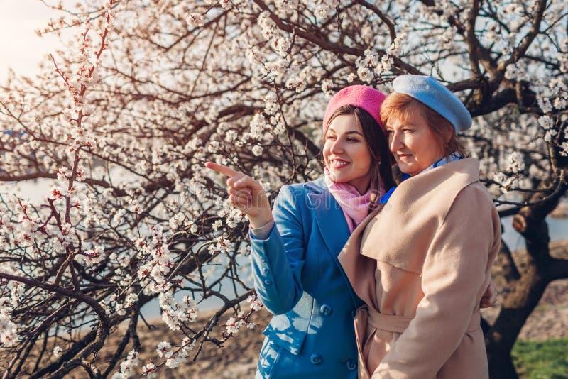 H?g moder och hennes vuxen dotter som kramar, i att blomma tr?dg?rden Fostra dagbegreppet f?r ` s Familjev?rderingar arkivfoto