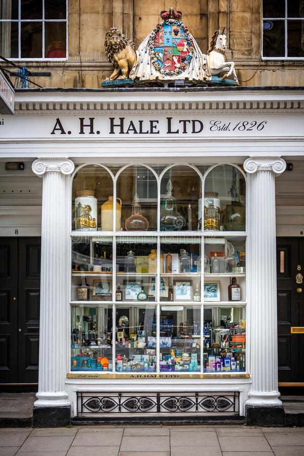 A H Hale Ltd Pharmacy shop front in Argyle Street, Bath, Somerset, England. On 24 August 2014 stock image