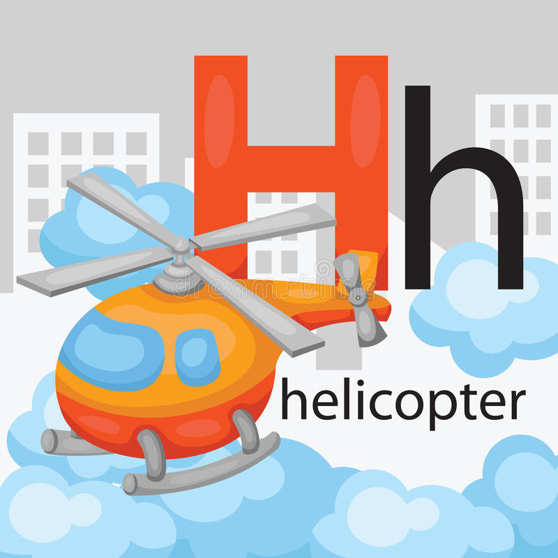 H for helicopter. The letter h for the word helicopter stock illustration