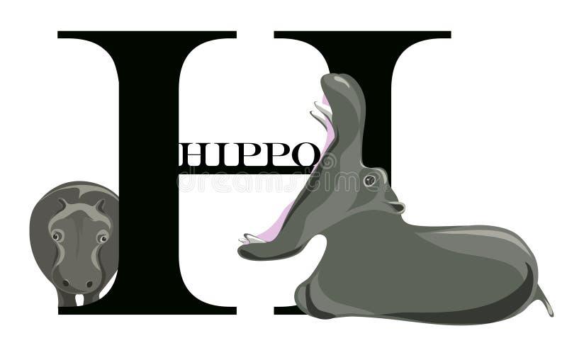 H (hipopótamo) stock de ilustración