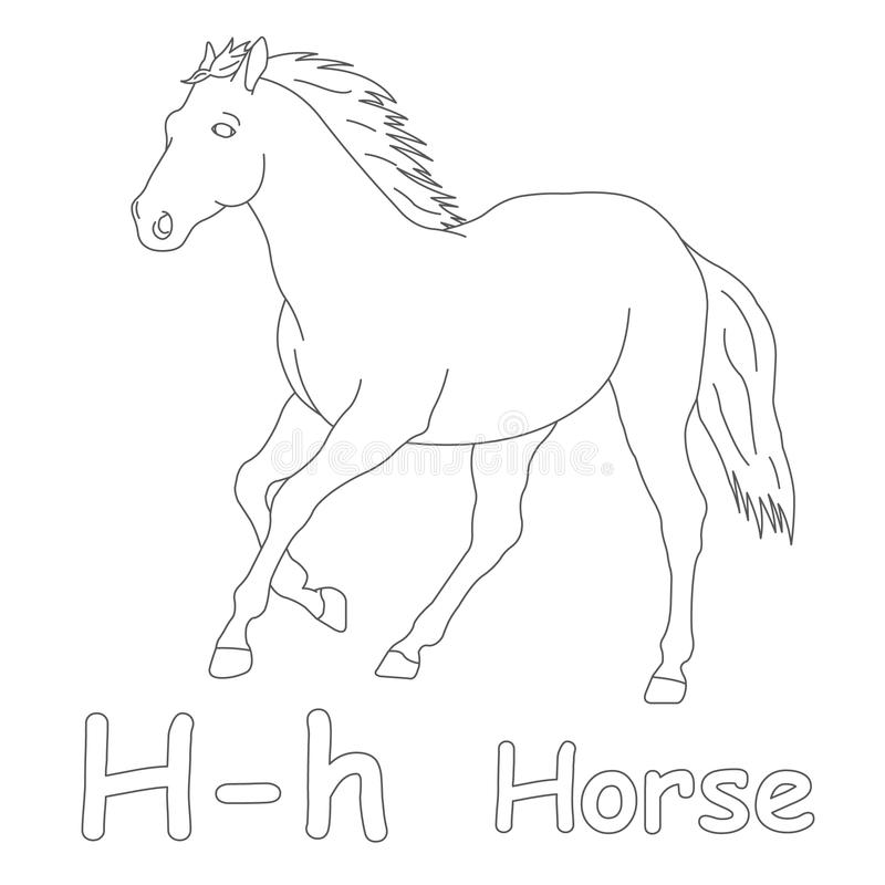 Download H For Horse Coloring Page Stock Illustration. Illustration Of Pages    39701545
