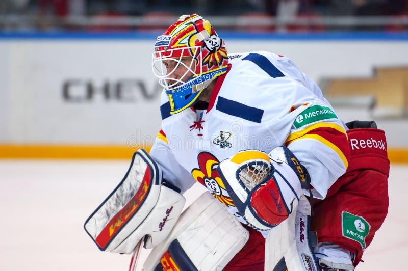 H. Karlsson (1), goaltender of Yokerit team royalty free stock images
