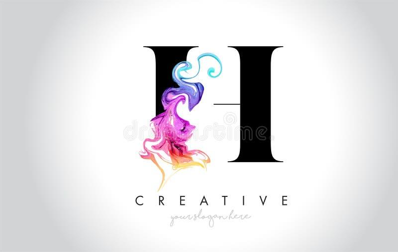 H Leter creativo vibrante Logo Design con la tinta colorida Flo del humo stock de ilustración