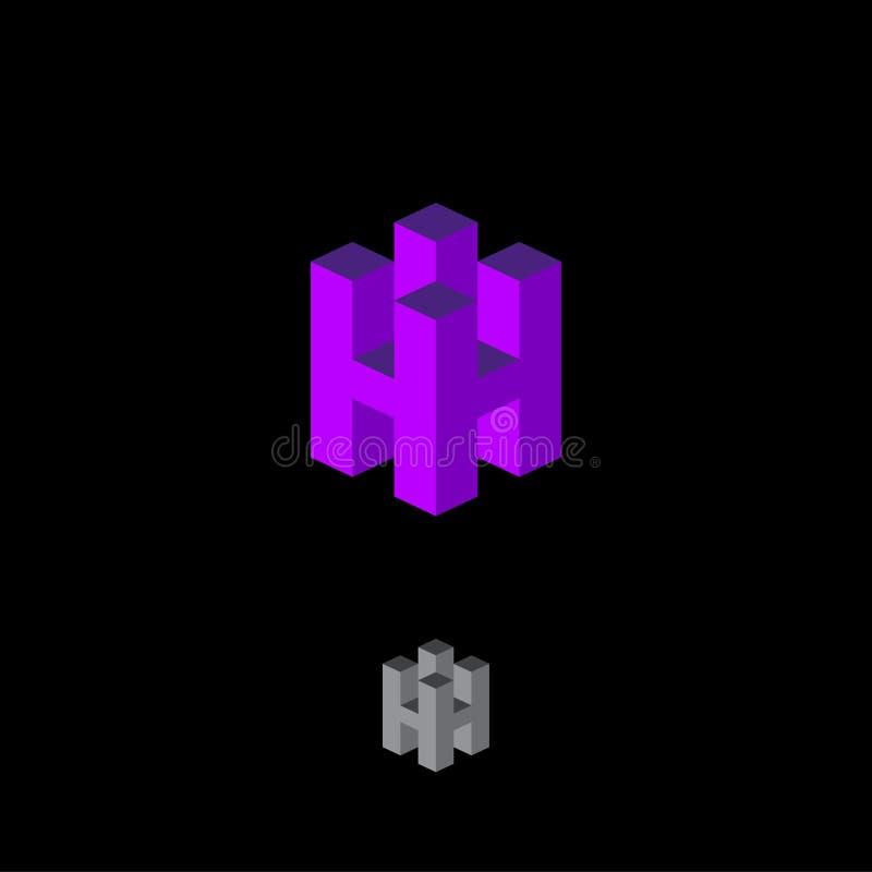 H letter cube logo. Construction emblem. 3D monogram. Abstract volume logo. stock illustration
