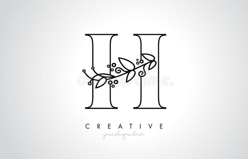 H Letter Logo With Organic Monogram Plant Leafs Detail and Circle Design. Creative Letter Icon vector illustration