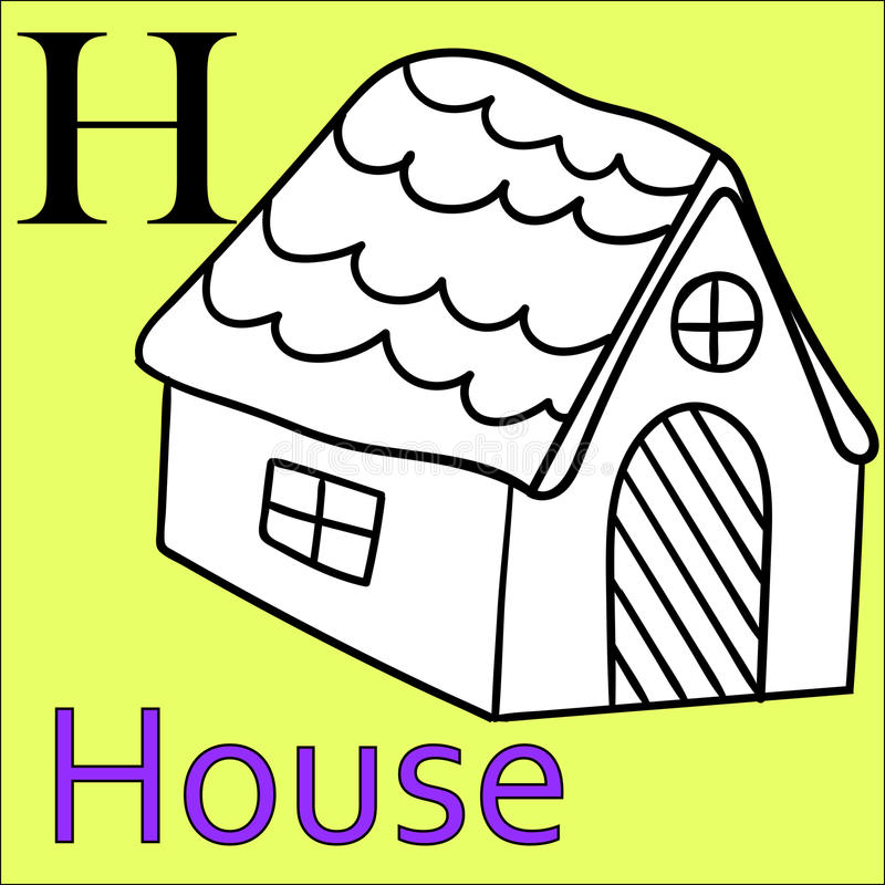 Download H Letter Vector Alphabet Coloring Book House Stock