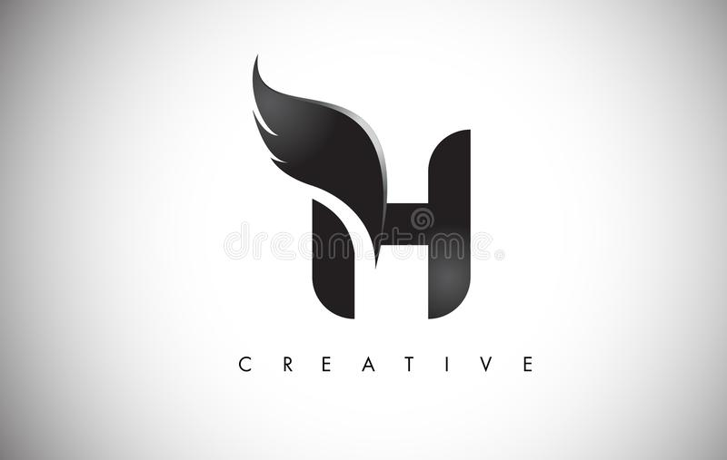 H Letter Wings Logo Design with Black Bird Fly Wing Icon. stock illustration
