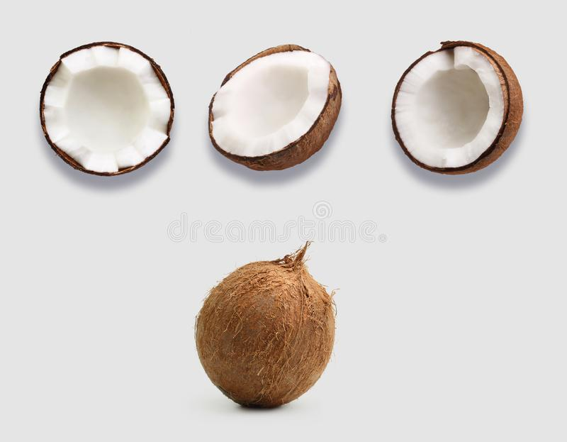 H?lfte der Kokosnuss lokalisiert stockfotos