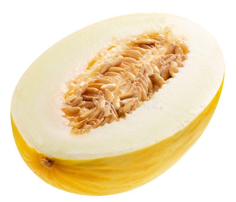H?lfte der Melone lokalisiert auf einem wei?en Hintergrund lizenzfreie stockfotos