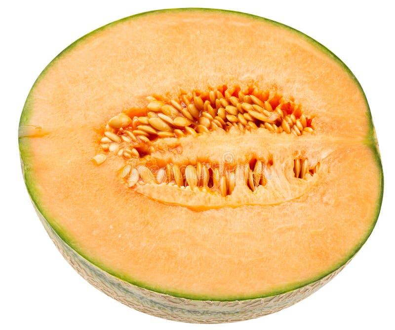 H?lfte der Melone lokalisiert auf einem wei?en Hintergrund stockfotos