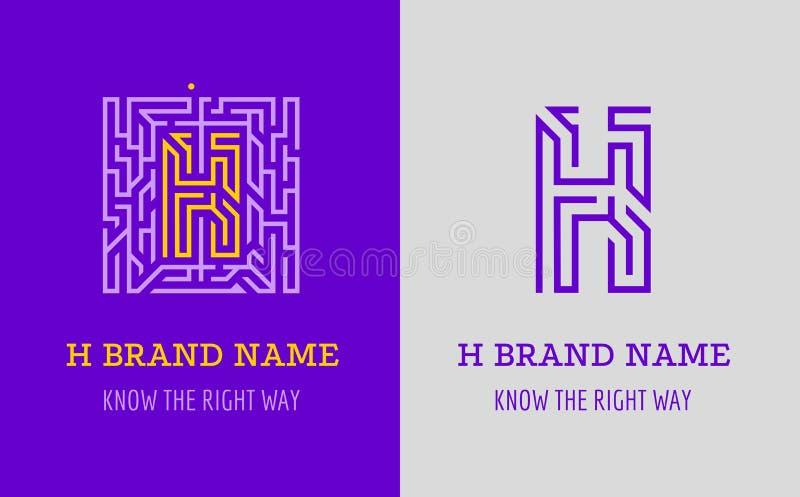H listu logo labirynt Kreatywnie logo dla korporacyjnej tożsamości firma: listowy H Logo symbolizuje labitynt, wybór prawa ścieżk royalty ilustracja