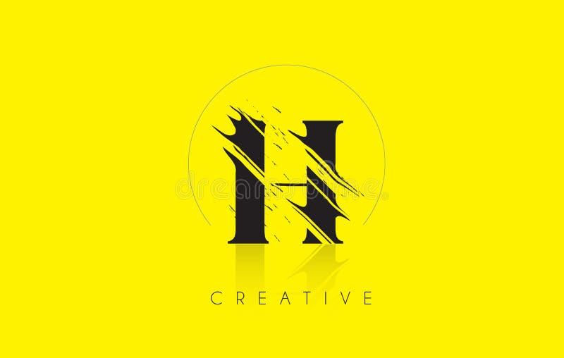 H listu logo z rocznika Grundge rysunku projektem Zniszczony cięcie ilustracji