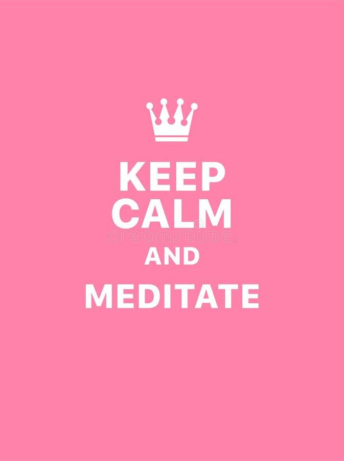 H?ll stillhet och meditera stock illustrationer