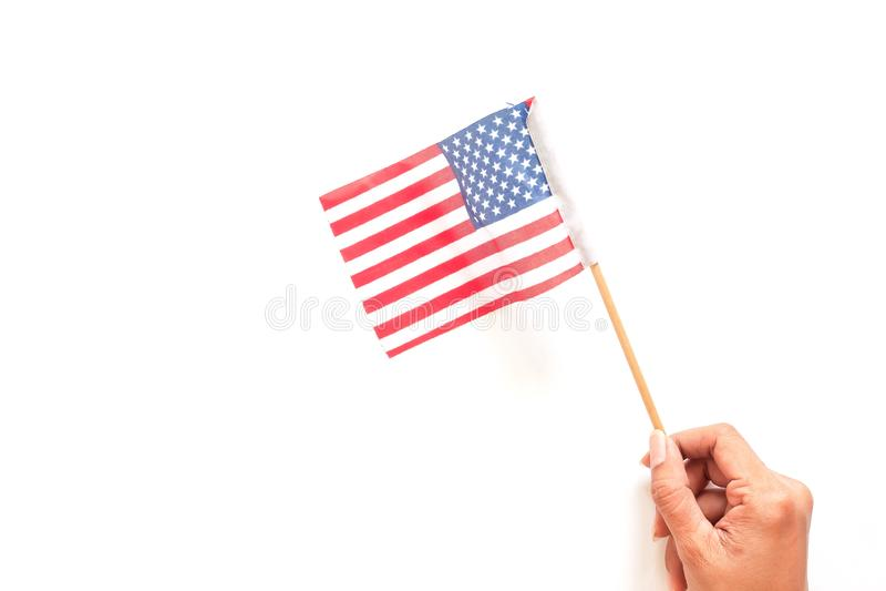 H?llande amerikanska flaggan f?r kvinnahand retro sj?lvst?ndighet f?r bakgrundsdaggrunge 4th av det Juli begreppet royaltyfri bild
