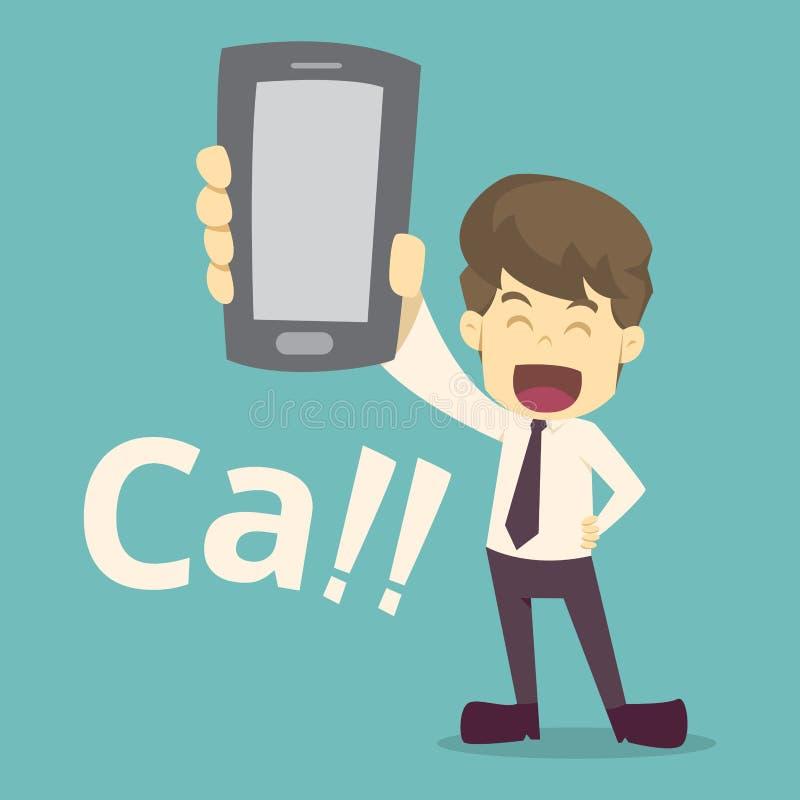 H?llande smartphone f?r aff?rsmanhand tecknade filmen av affären, anställdframgång är begreppet av manteckenaffären, lynnet av vektor illustrationer