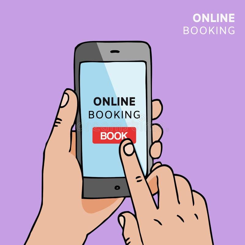 H?llande smartphone f?r hand med bokknappen p? sk?rmen Begrepp av online-bokningmobilapplikationen Reservation av hotellet stock illustrationer