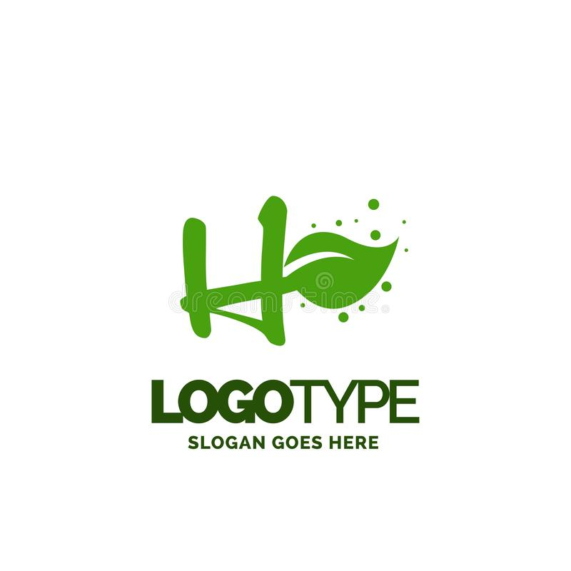H logo with Leaf Element. Nature Leaf logo designs, Simple leaf. Logo symbol. Natural, eco food. Organic food badges in vector. Vector logos. Natural logos with stock illustration
