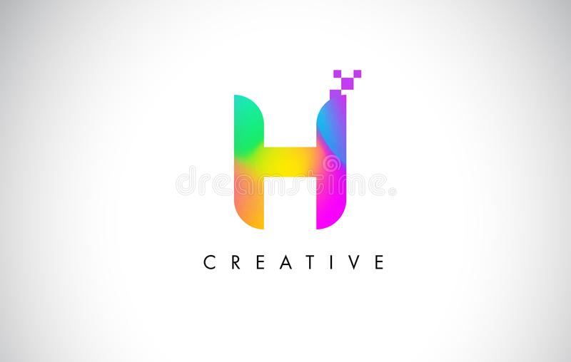 H Logo Letter Design Vetora colorido Inclinação criativo do arco-íris ilustração royalty free