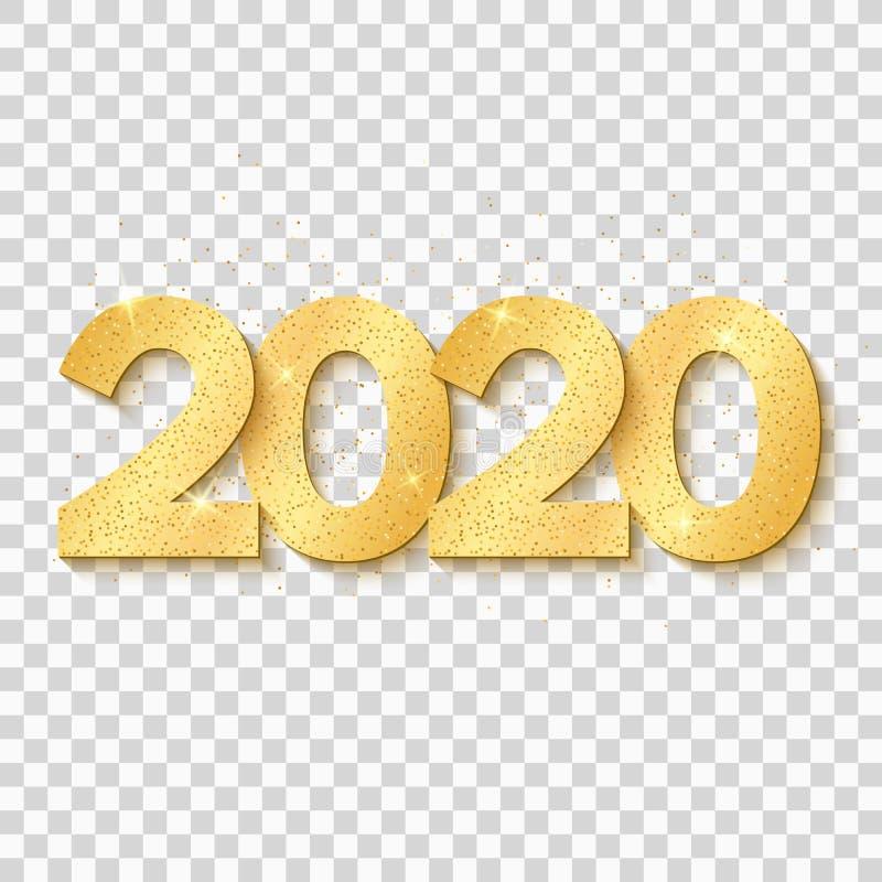 2020 h?lsningkort f?r lyckligt nytt ?r Guld- konfettier V?tskedesign med abstrakta svarta former Briljanten bl?nker p? ett ljus stock illustrationer