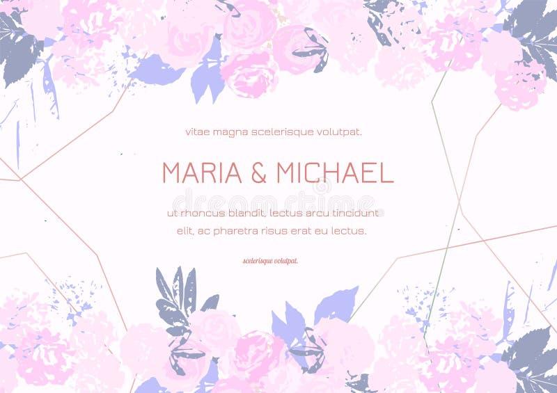 H?lsningkortet med rosor, kan anv?ndas som inbjudankortet f?r att gifta sig, f?delsedagen och annan ferie och sommarbakgrund vektor illustrationer
