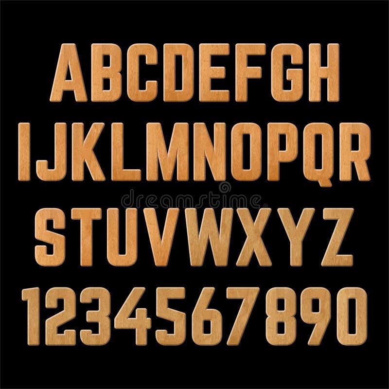 H?lzerne Buchstaben Alle Buchstaben mit Zahlen lizenzfreie abbildung