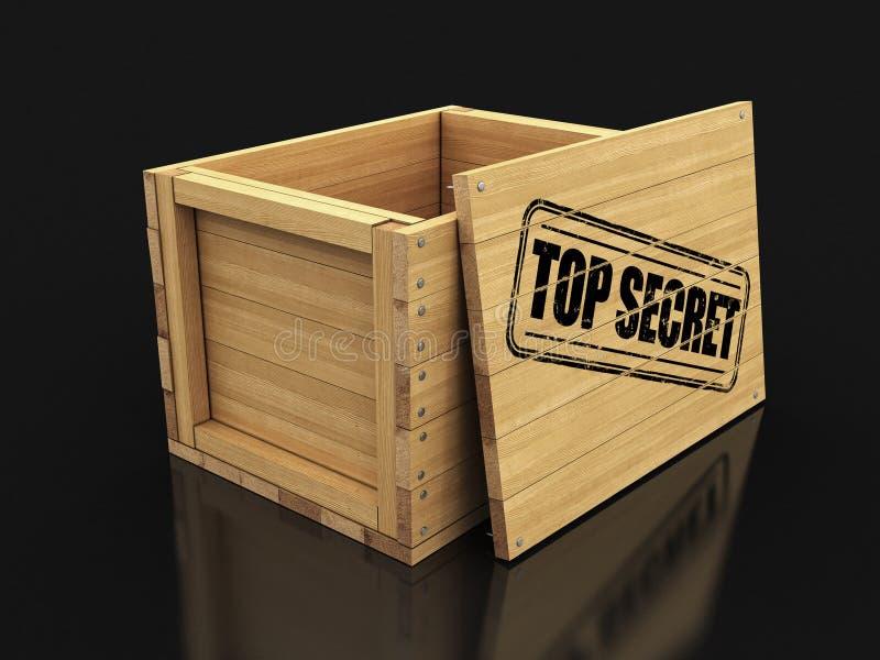 H?lzerne Kiste mit dem Stempel streng geheim Bild mit Beschneidungspfad vektor abbildung