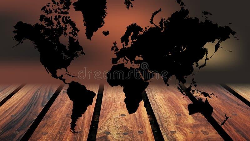 H?lzerner Hintergrund der Weltkarte Eine Weltkarte auf h?lzernem Tabellenhintergrund stockfotografie