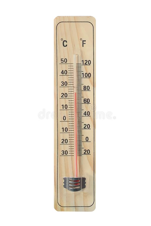 H?lzerner Thermometer lokalisiert auf wei?em Hintergrund lizenzfreies stockfoto
